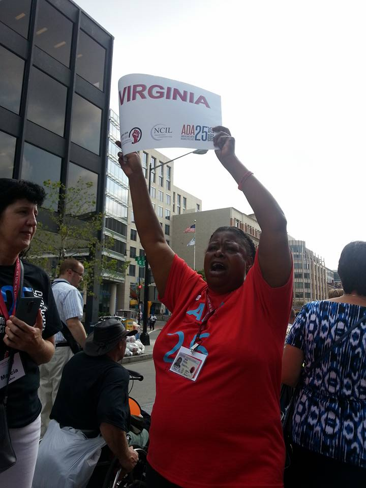 March participant holding up Virginia sign