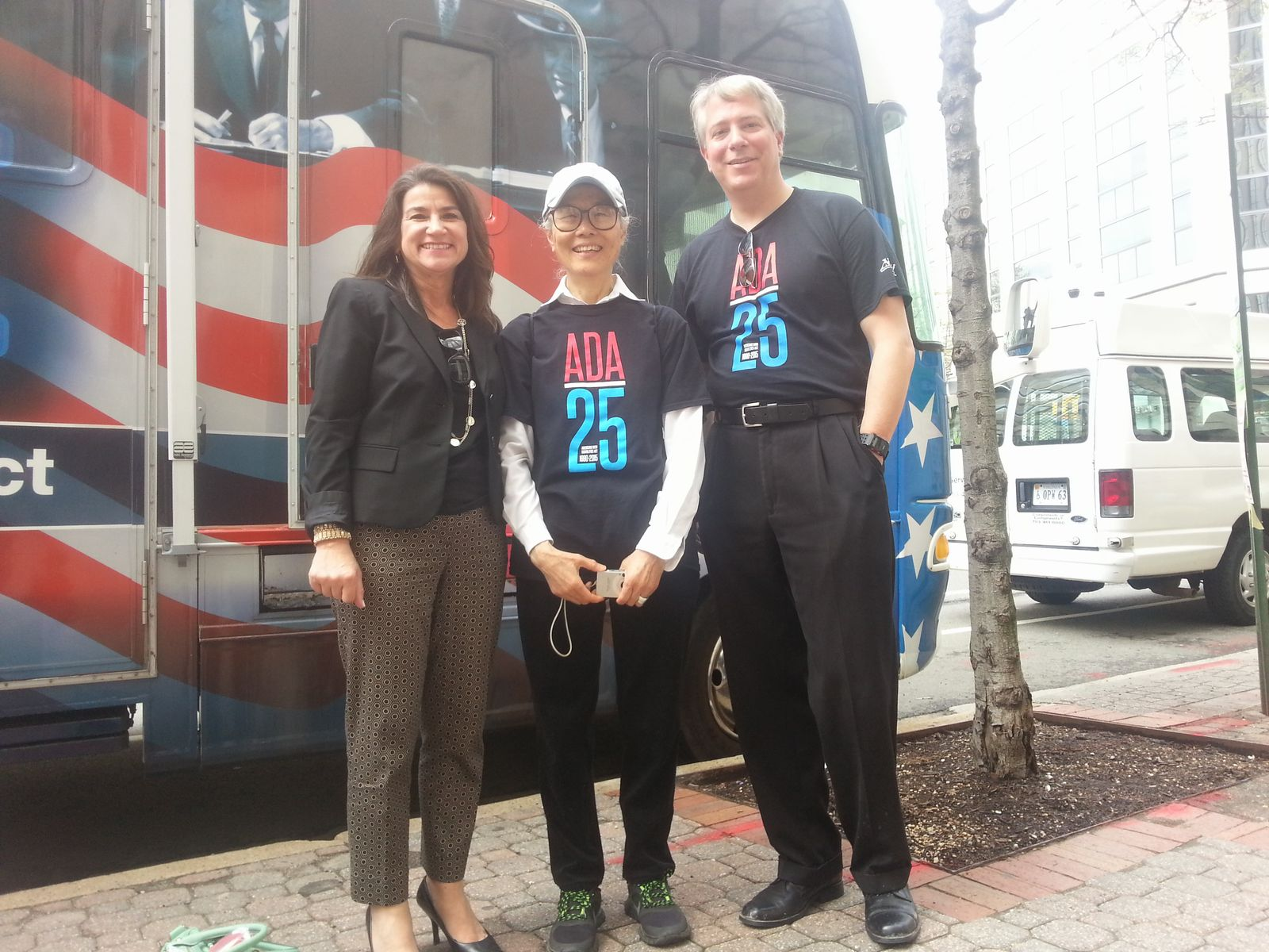 Soula Antoniou, Yoshiko Dart, and Brewster Thackeray in front of the Road to Freedom bus