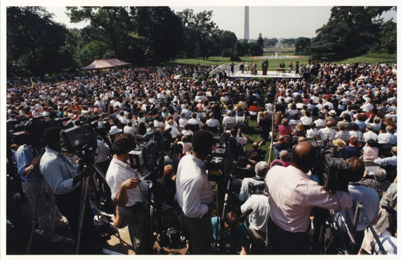 Crowd gathered to watch the President Bush sign the ADA.