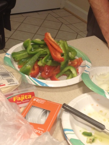 Plate of sliced peppers